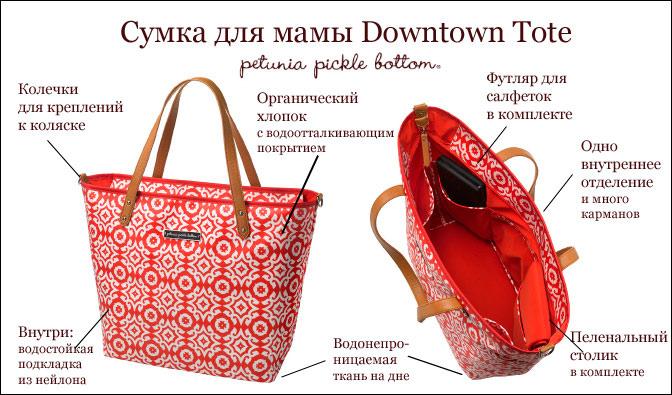 Недорогая сумка для мамы Petunia Pickle Bottom Downtown Tote